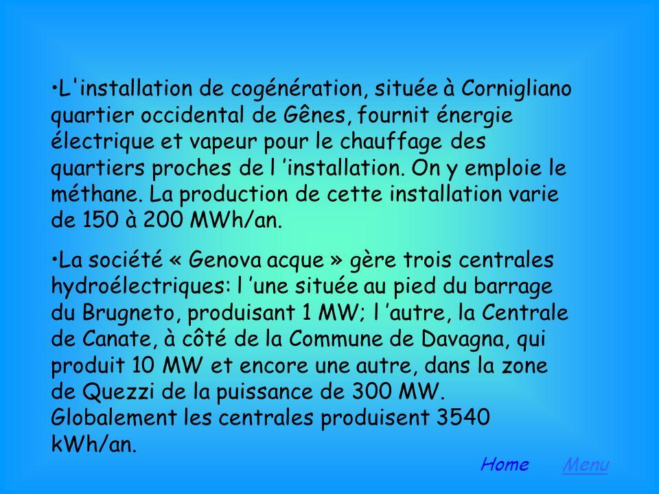 L installation de cogénération, située à Cornigliano quartier occidental de Gênes, fournit énergie électrique et vapeur pour le chauffage des quartiers proches de l 'installation. On y emploie le méthane. La production de cette installation varie de 150 à 200 MWh/an.