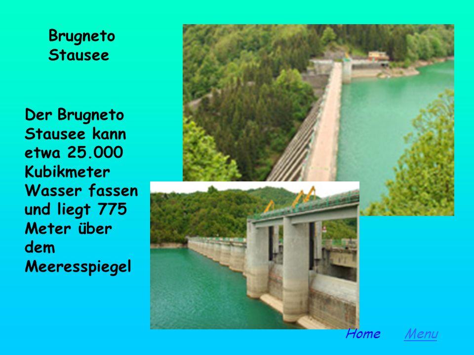 Brugneto Stausee Der Brugneto Stausee kann etwa 25.000 Kubikmeter Wasser fassen und liegt 775 Meter über dem Meeresspiegel.
