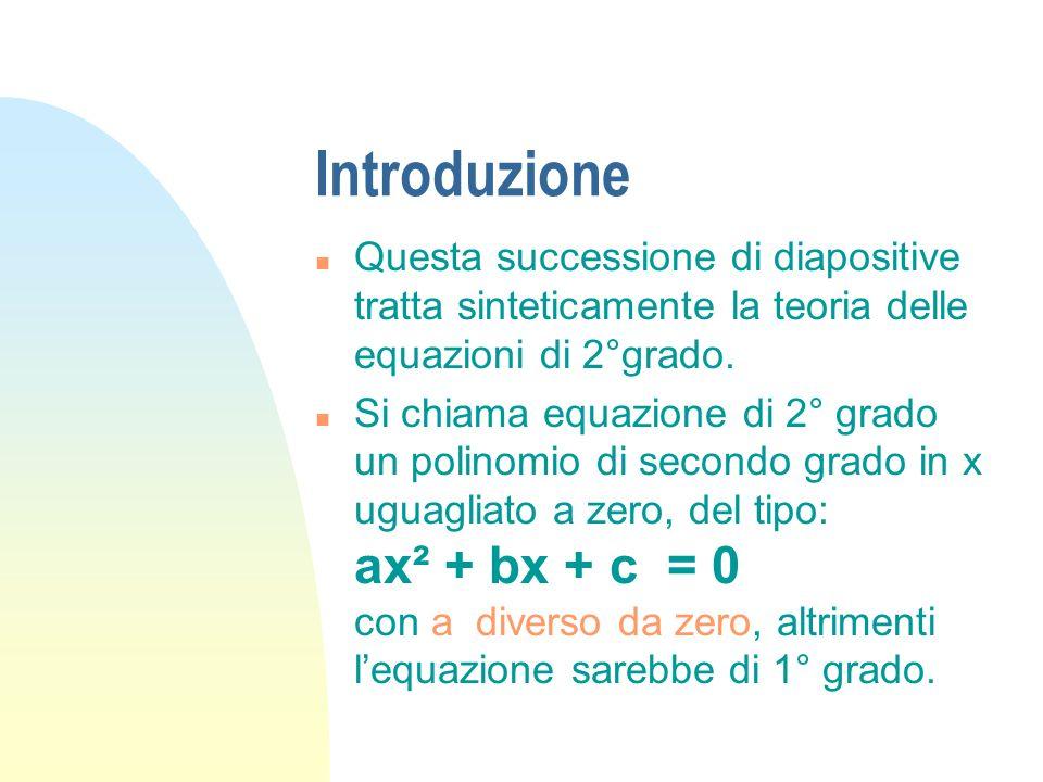 Introduzione Questa successione di diapositive tratta sinteticamente la teoria delle equazioni di 2°grado.