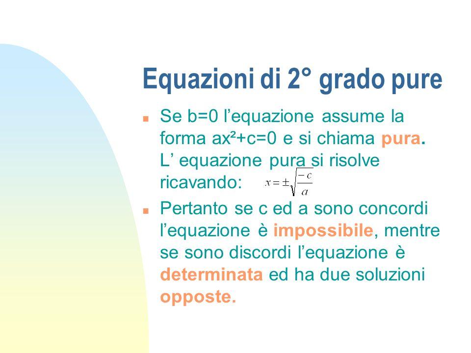 Equazioni di 2° grado pure