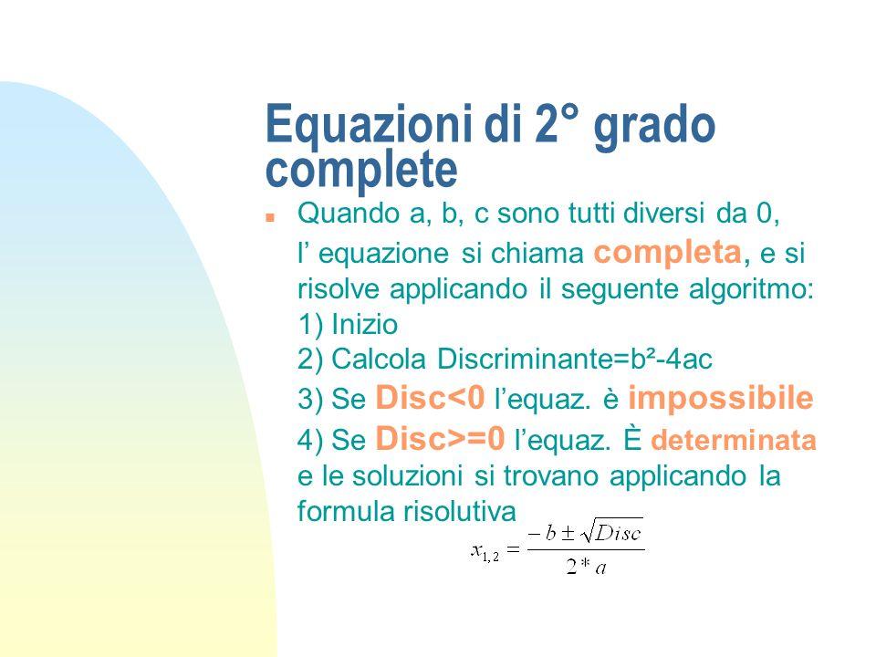 Equazioni di 2° grado complete