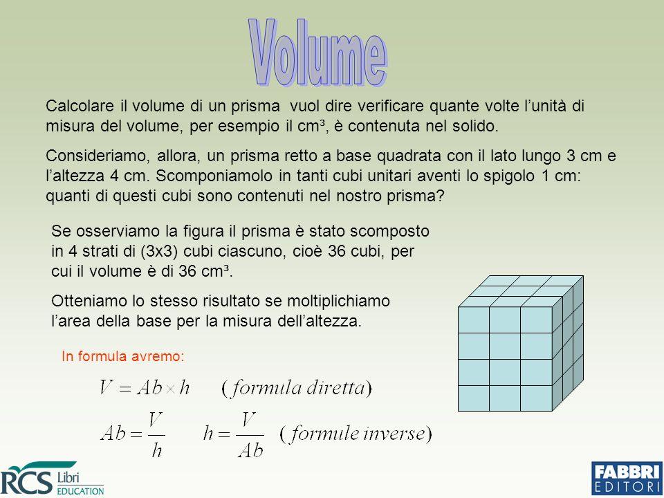 Volume Calcolare il volume di un prisma vuol dire verificare quante volte l'unità di misura del volume, per esempio il cm³, è contenuta nel solido.