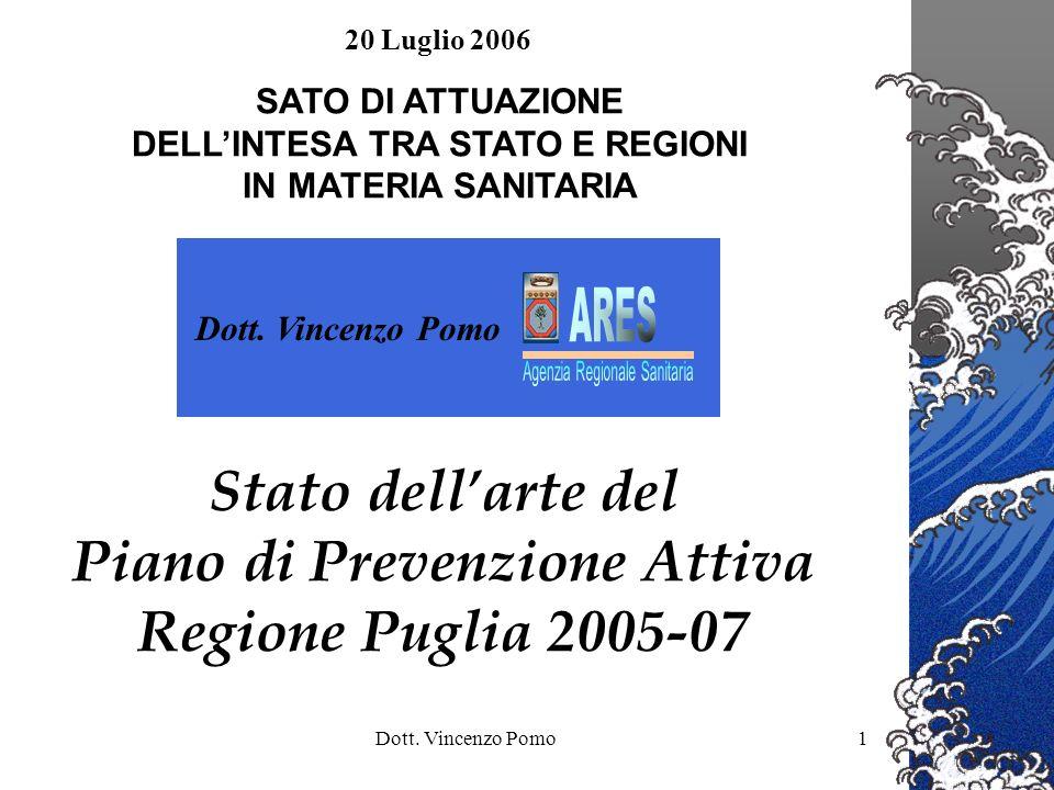 Stato dell'arte del Piano di Prevenzione Attiva Regione Puglia 2005-07