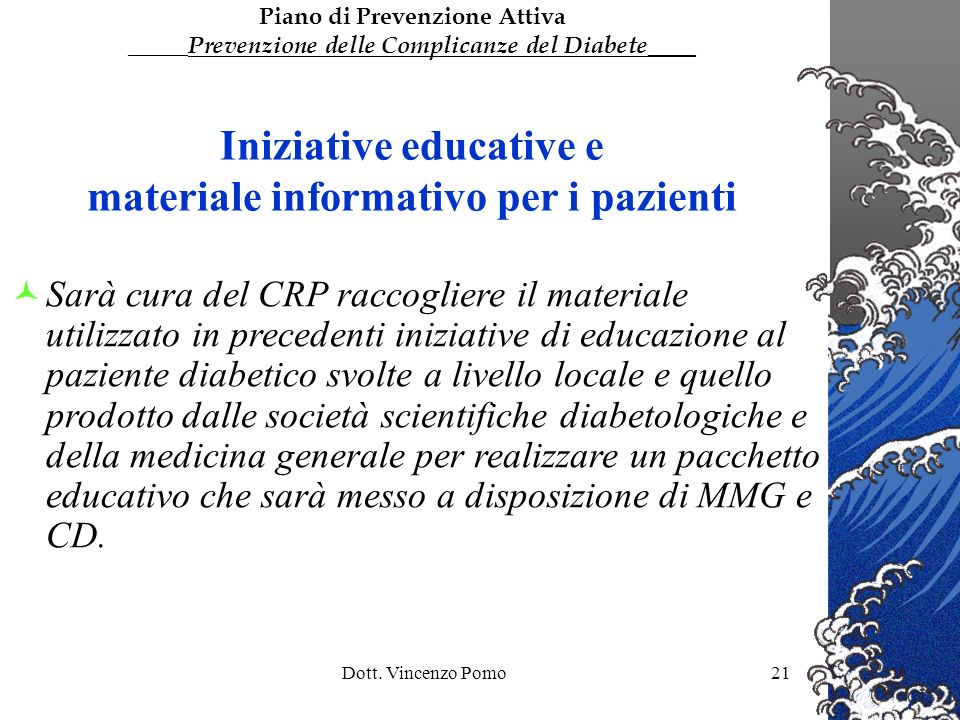 Iniziative educative e materiale informativo per i pazienti