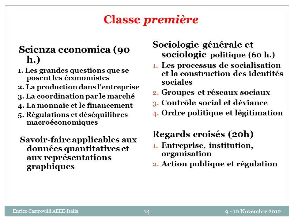 Classe première Sociologie générale et sociologie politique (60 h.)
