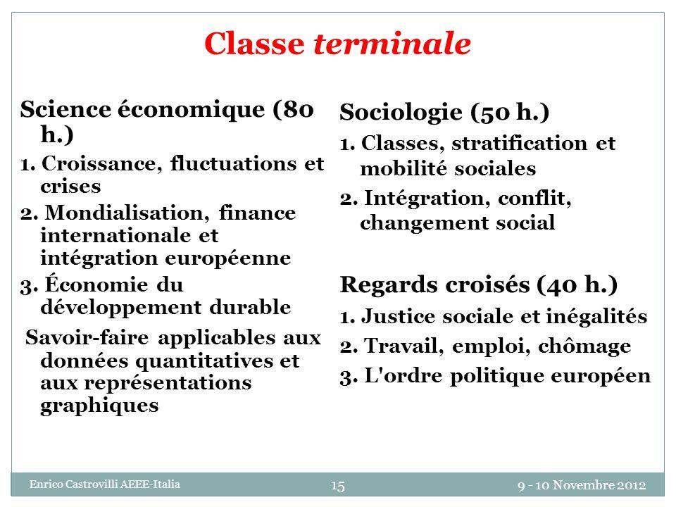 Classe terminale Science économique (80 h.)