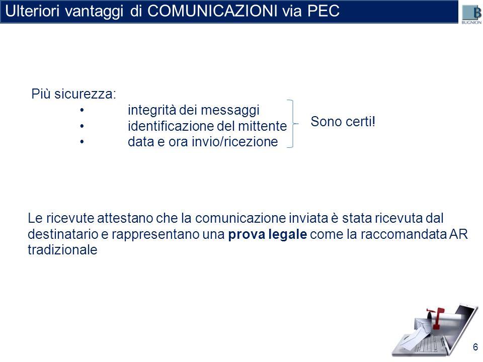 Ulteriori vantaggi di COMUNICAZIONI via PEC