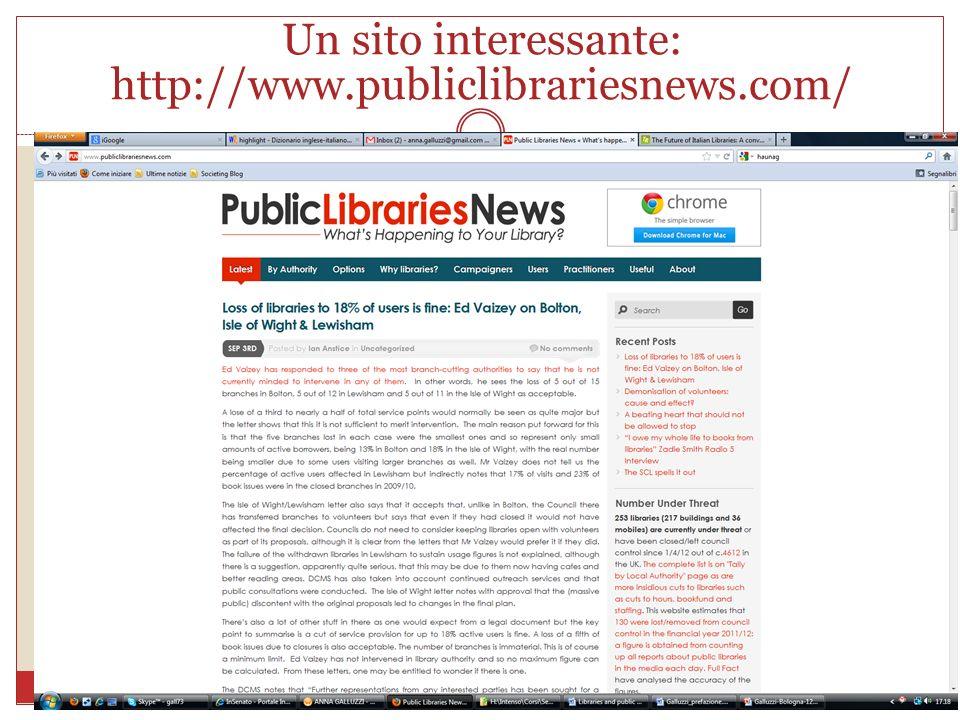 Un sito interessante: http://www.publiclibrariesnews.com/