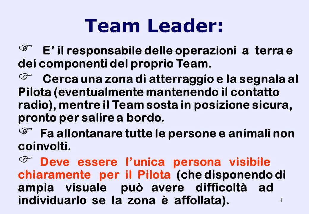 Team Leader: E' il responsabile delle operazioni a terra e dei componenti del proprio Team.