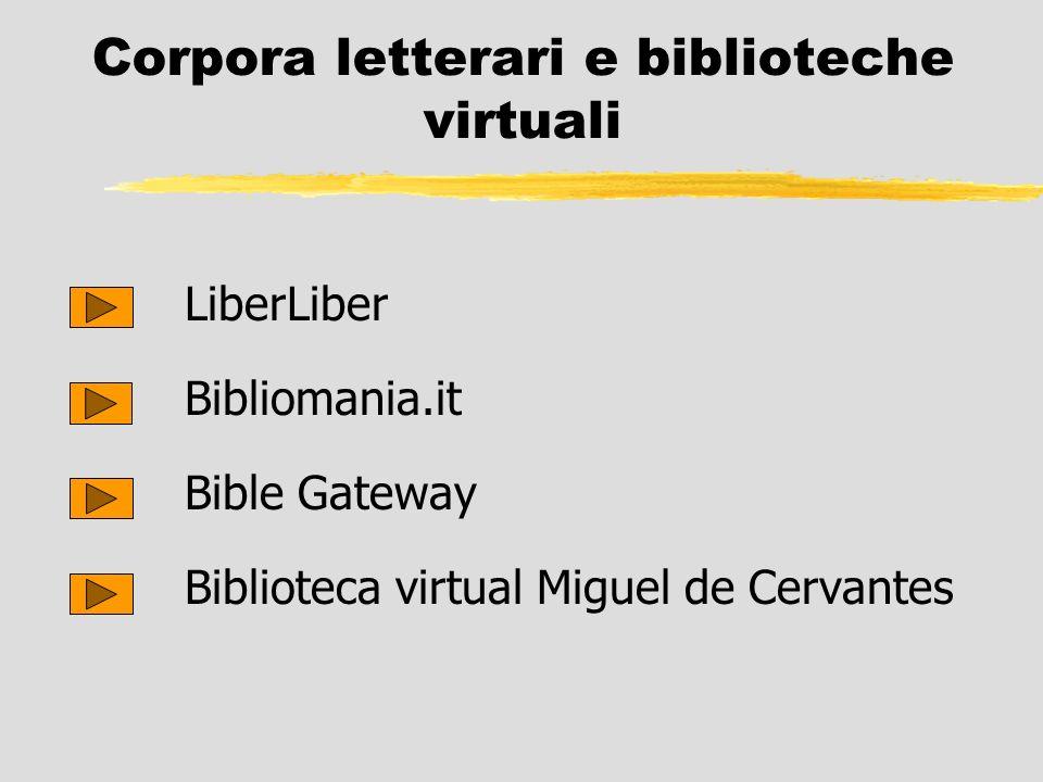 Corpora letterari e biblioteche virtuali