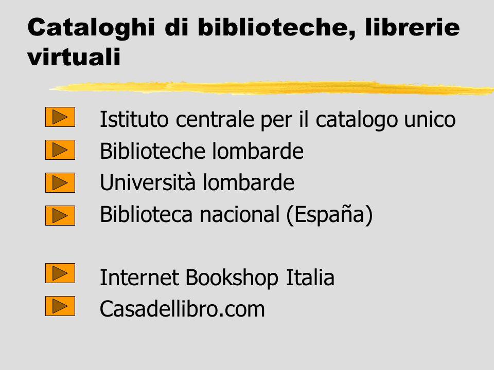 Cataloghi di biblioteche, librerie virtuali