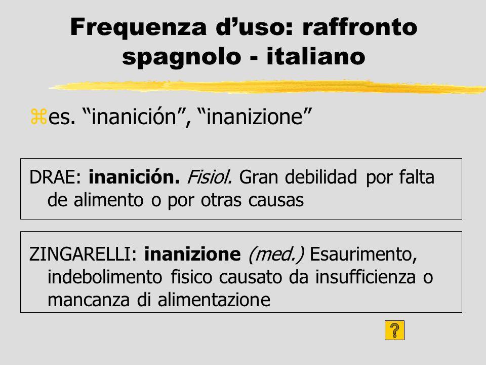 Frequenza d'uso: raffronto spagnolo - italiano