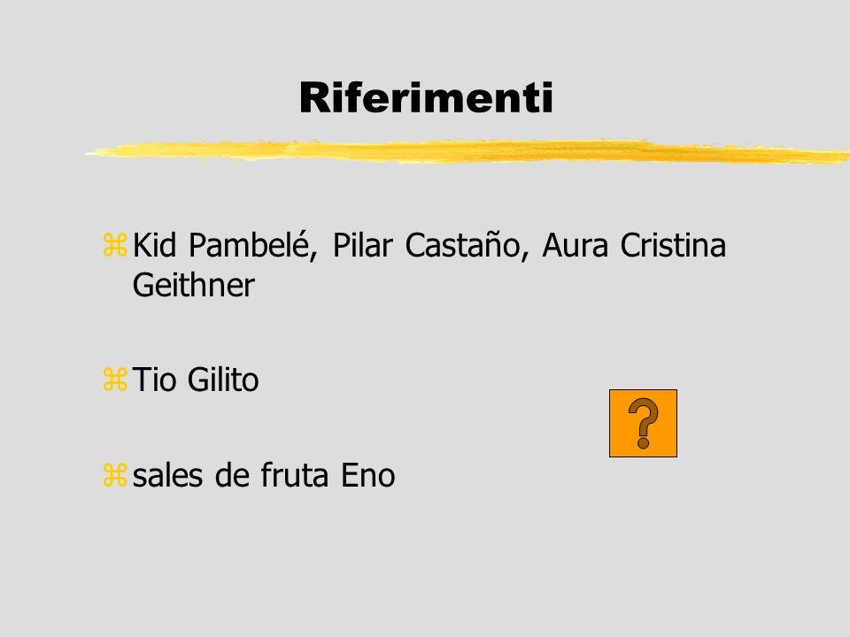 Riferimenti Kid Pambelé, Pilar Castaño, Aura Cristina Geithner