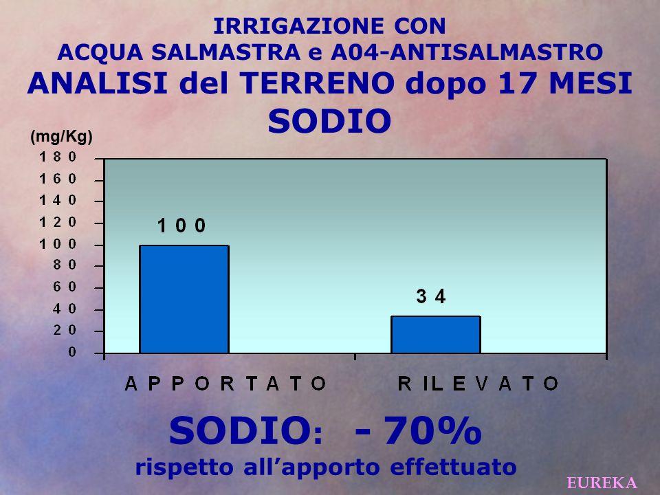 SODIO: - 70% SODIO ANALISI del TERRENO dopo 17 MESI