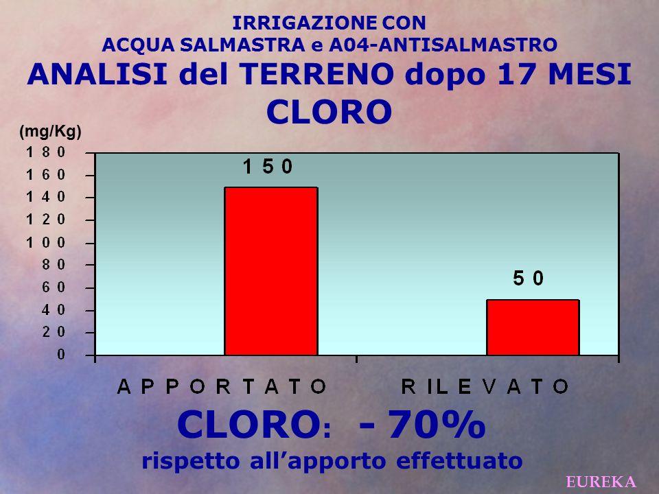 CLORO: - 70% CLORO ANALISI del TERRENO dopo 17 MESI