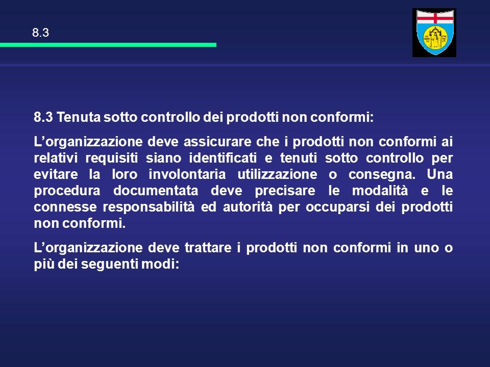 8.3 Tenuta sotto controllo dei prodotti non conformi: