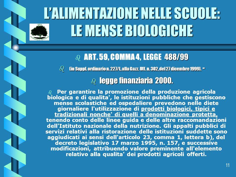 L'ALIMENTAZIONE NELLE SCUOLE: LE MENSE BIOLOGICHE