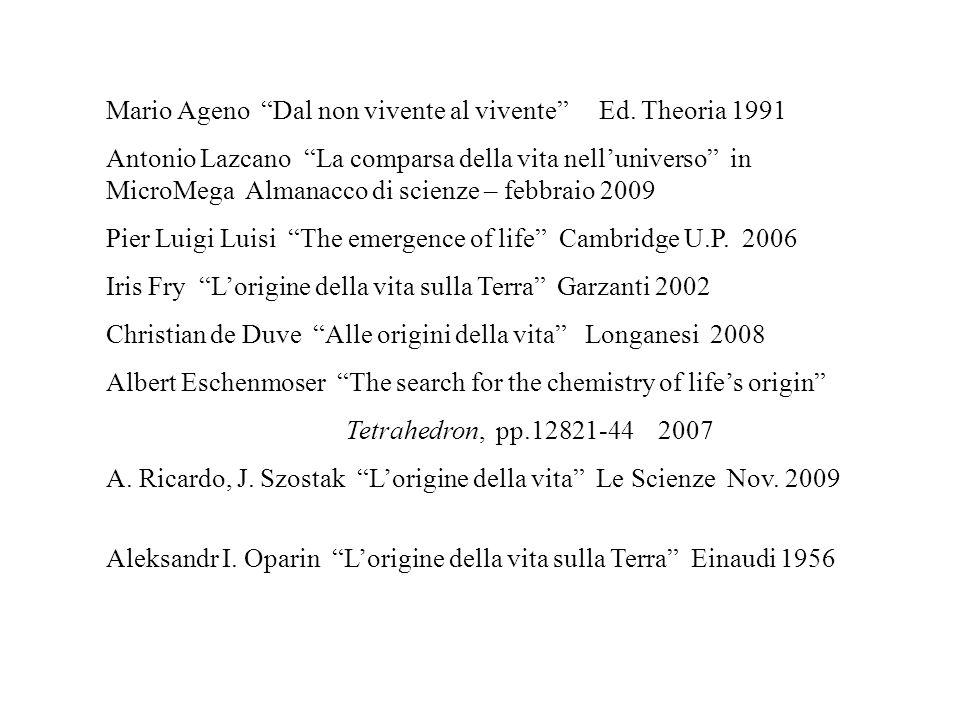Mario Ageno Dal non vivente al vivente Ed. Theoria 1991