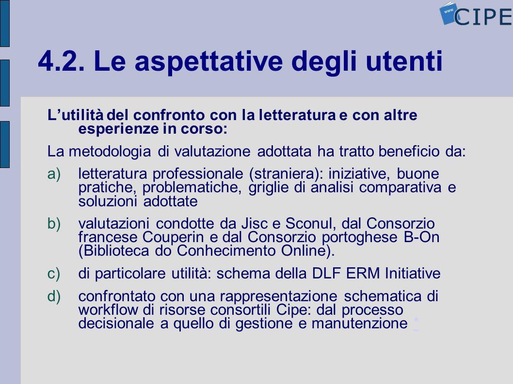 4.2. Le aspettative degli utenti