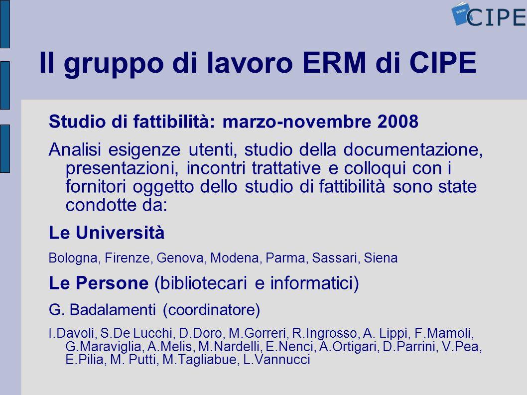 Il gruppo di lavoro ERM di CIPE