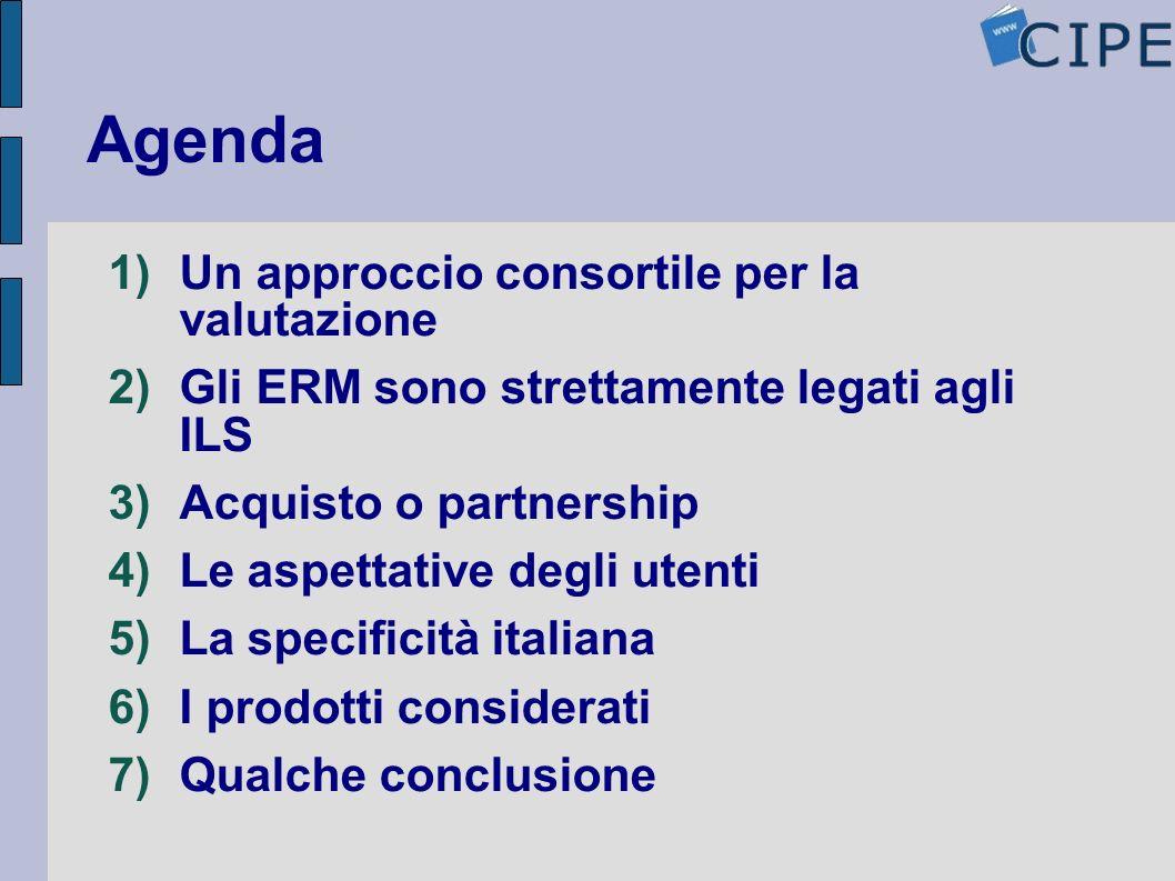 Agenda Un approccio consortile per la valutazione