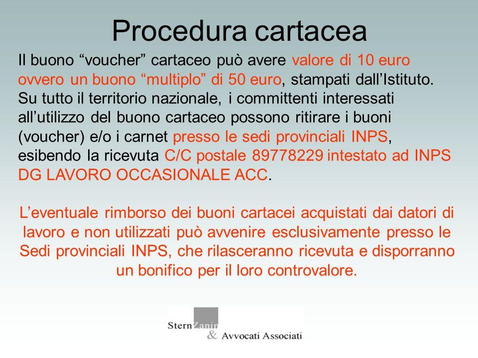 Procedura cartaceaIl buono voucher cartaceo può avere valore di 10 euro ovvero un buono multiplo di 50 euro, stampati dall'Istituto.