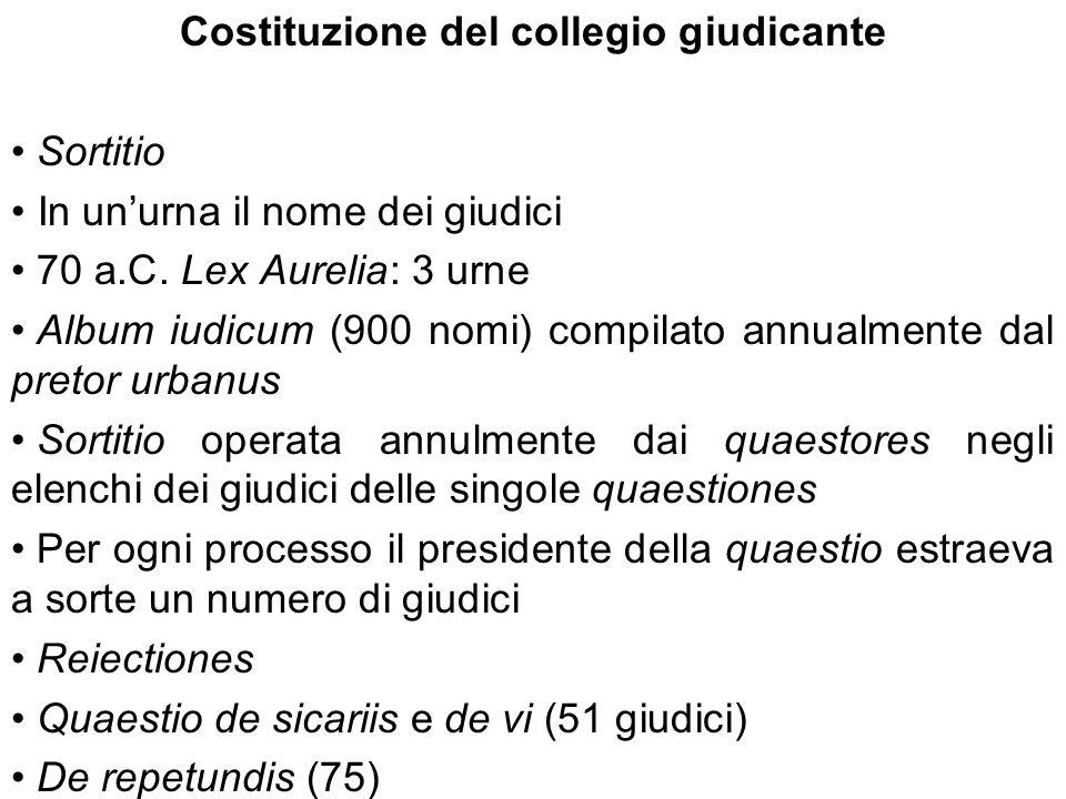 Costituzione del collegio giudicante