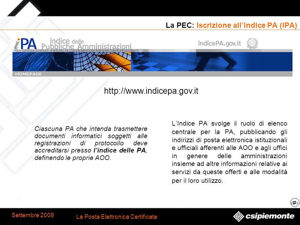La PEC: Iscrizione all'Indice PA (IPA)