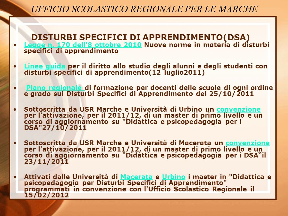 DISTURBI SPECIFICI DI APPRENDIMENTO(DSA)