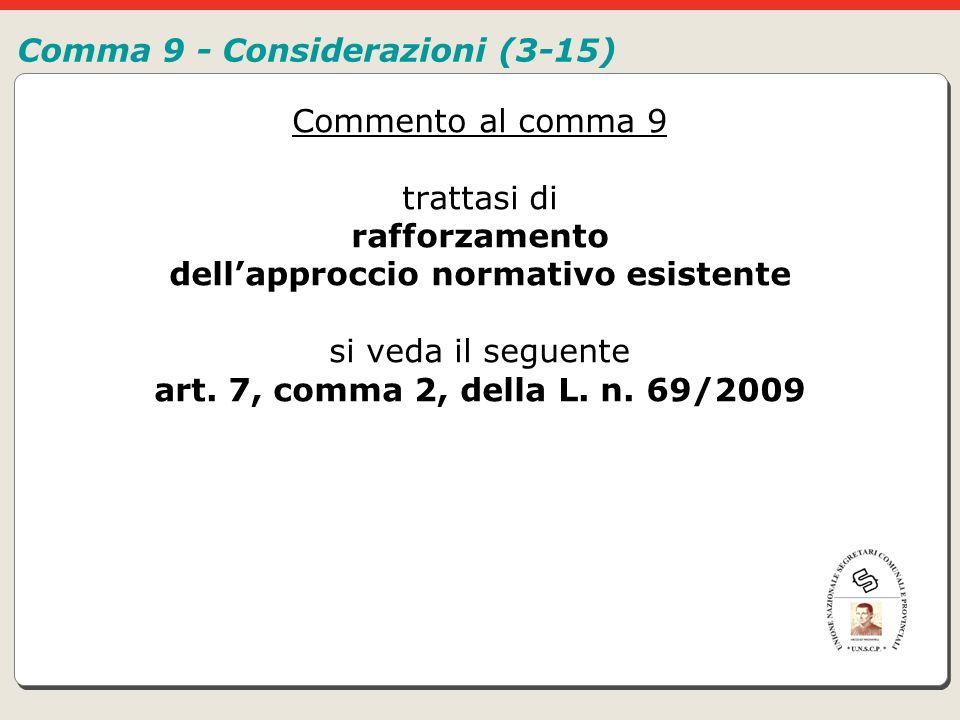 Comma 9 - Considerazioni (3-15)