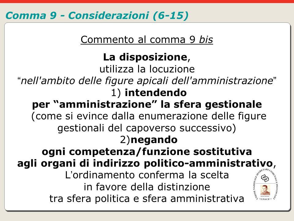 Comma 9 - Considerazioni (6-15)