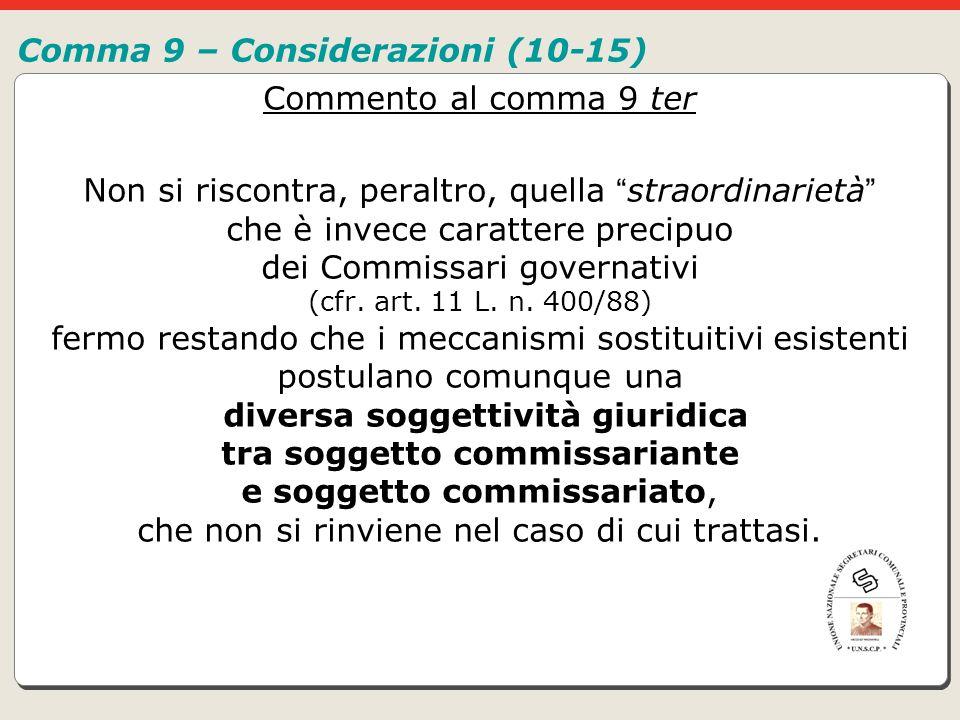 Comma 9 – Considerazioni (10-15)
