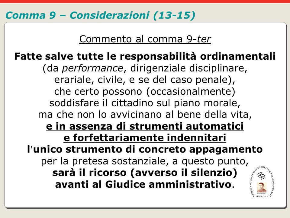 Comma 9 – Considerazioni (13-15)