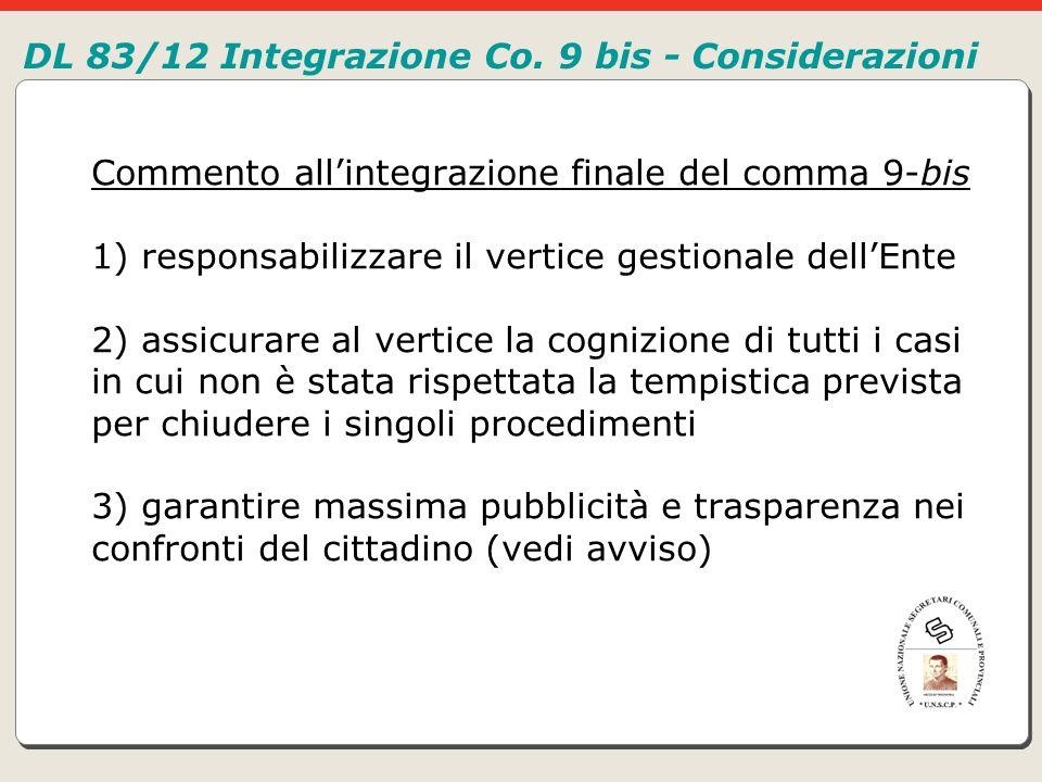DL 83/12 Integrazione Co. 9 bis - Considerazioni