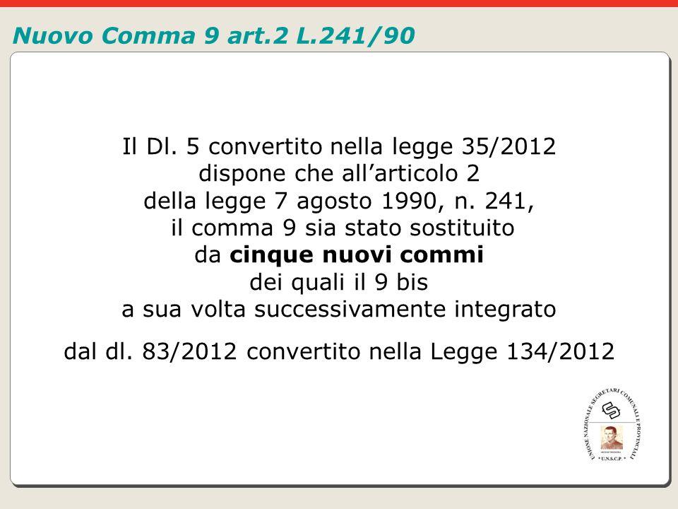 Il Dl. 5 convertito nella legge 35/2012 dispone che all'articolo 2