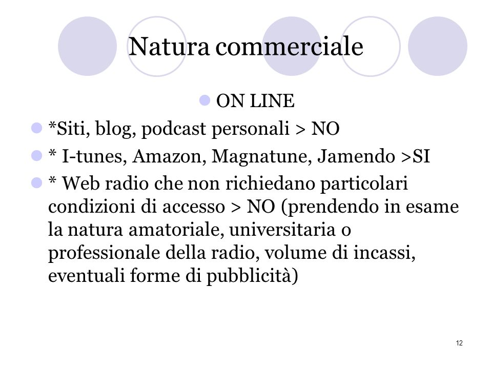 Natura commerciale ON LINE *Siti, blog, podcast personali > NO