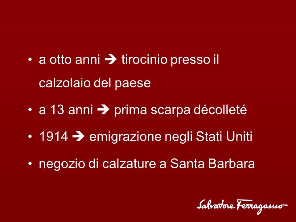 Storia Salvatore Ferragamo  fondatore 1898  nasce a Bonito (Napoli)