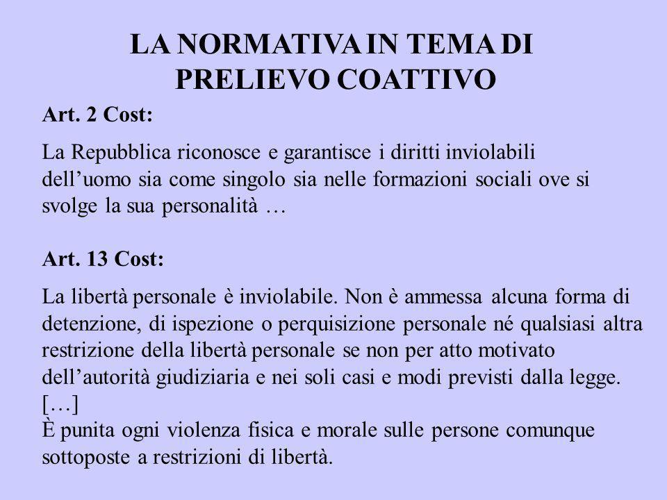 LA NORMATIVA IN TEMA DI PRELIEVO COATTIVO Art. 2 Cost: