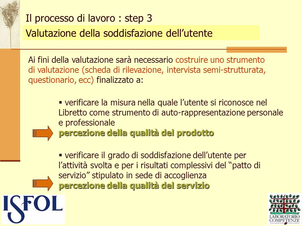 Il processo di lavoro : step 3
