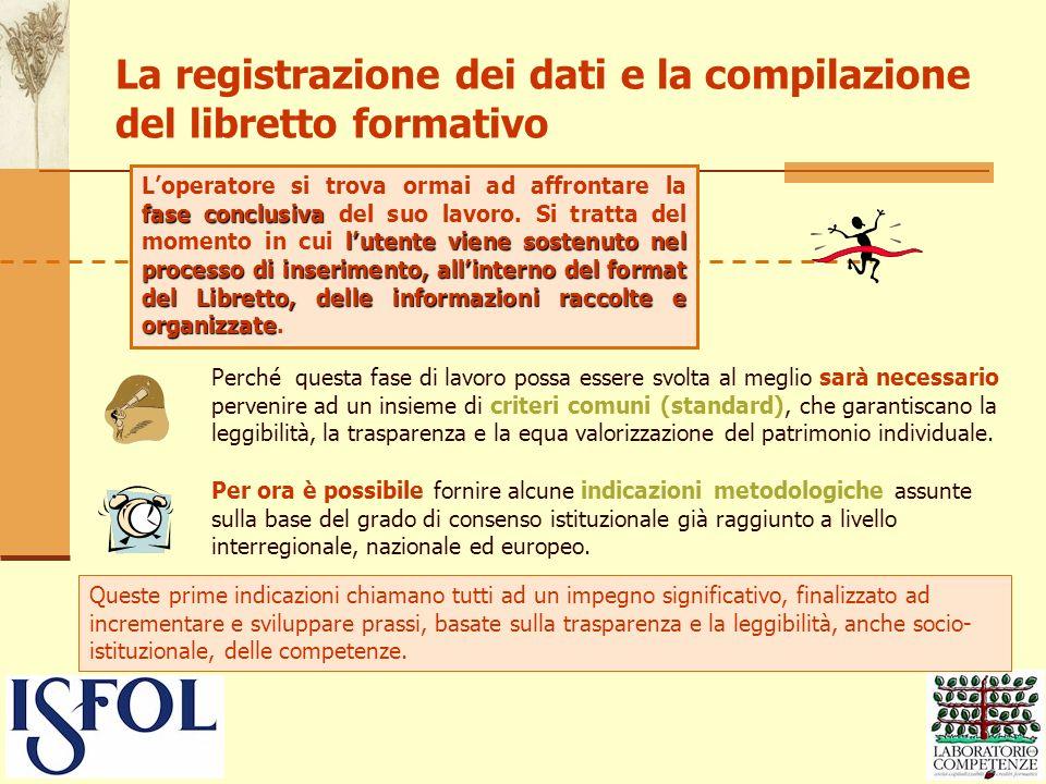 La registrazione dei dati e la compilazione del libretto formativo