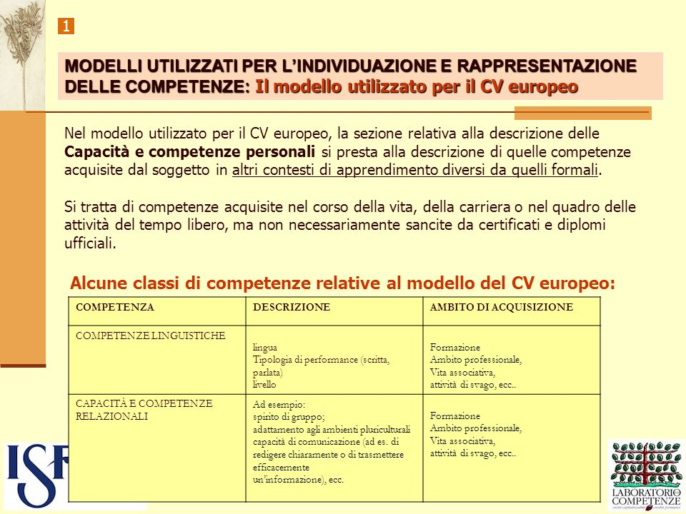 Alcune classi di competenze relative al modello del CV europeo: