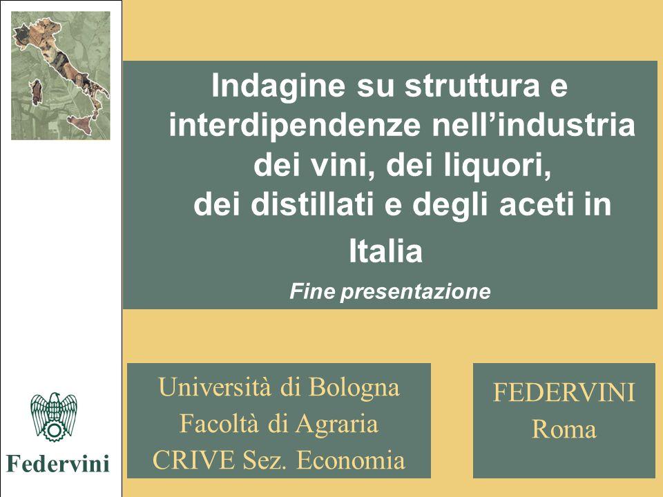 Federvini Indagine su struttura e interdipendenze nell'industria dei vini, dei liquori, dei distillati e degli aceti in Italia.
