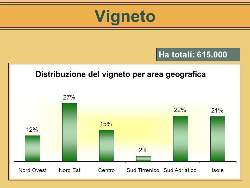 Vigneto Ha totali: 615.000. Distribuzione del vigneto per area geografica. 12% 27% 15% 2% 22%