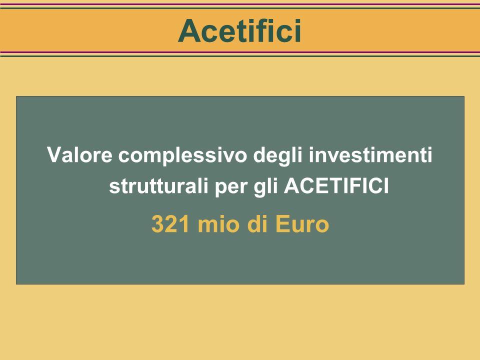 Valore complessivo degli investimenti strutturali per gli ACETIFICI
