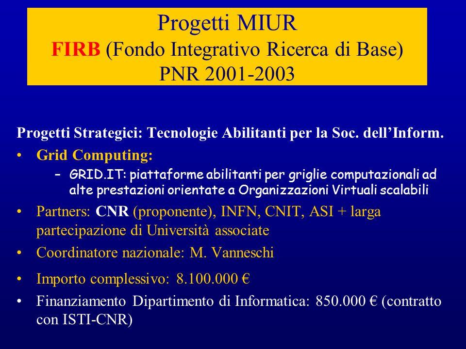 Progetti MIUR FIRB (Fondo Integrativo Ricerca di Base) PNR 2001-2003