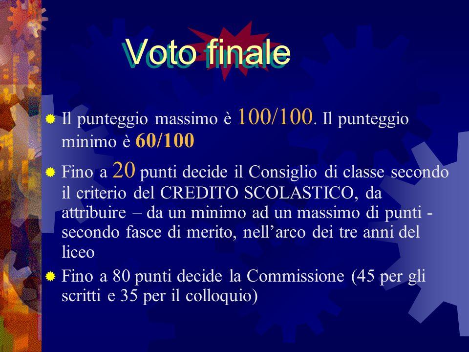Voto finaleIl punteggio massimo è 100/100. Il punteggio minimo è 60/100.