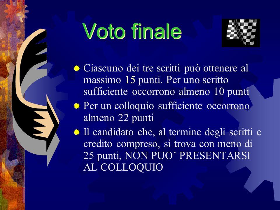 Voto finaleCiascuno dei tre scritti può ottenere al massimo 15 punti. Per uno scritto sufficiente occorrono almeno 10 punti.