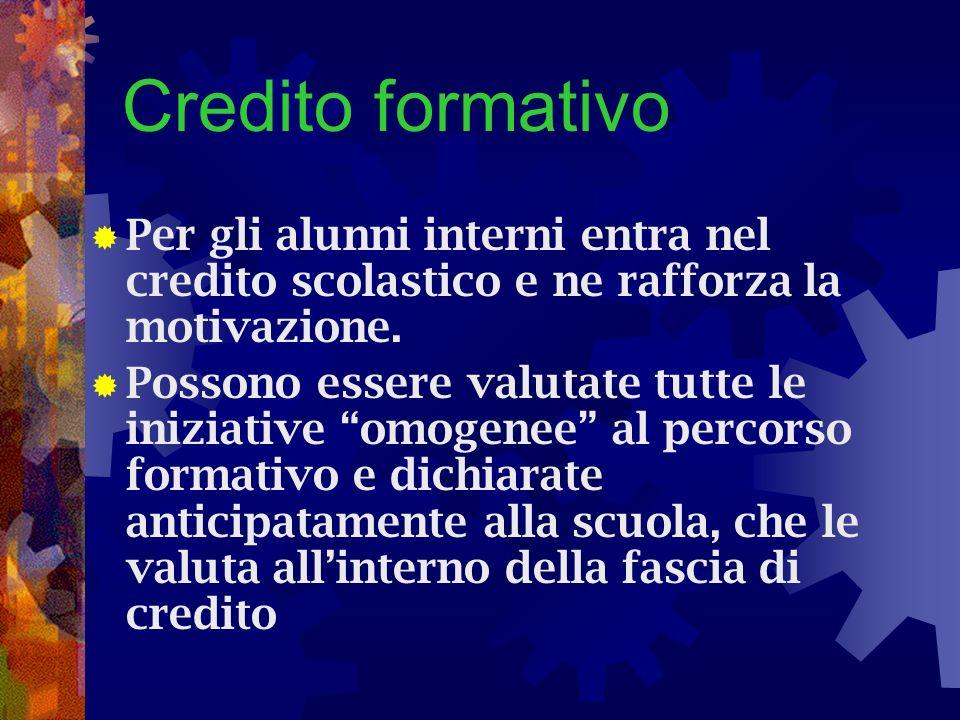 Credito formativo Per gli alunni interni entra nel credito scolastico e ne rafforza la motivazione.