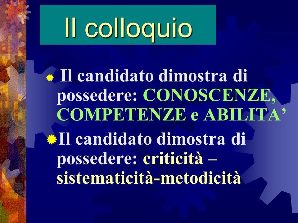 Il colloquio Il candidato dimostra di possedere: CONOSCENZE, COMPETENZE e ABILITA'