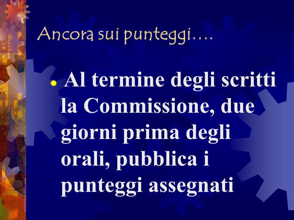 Ancora sui punteggi….Al termine degli scritti la Commissione, due giorni prima degli orali, pubblica i punteggi assegnati.